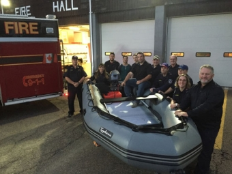 Members of the Alton Project team were on hand October 12 with members of the Stewiacke and District Volunteer Fire Department for the official unveiling of the new rescue boat supported by the Alton Natural Gas Storage Project